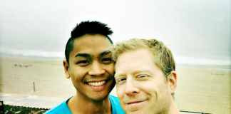 Gay Star Trek star Anthony Rapp with his boyfriend Ken